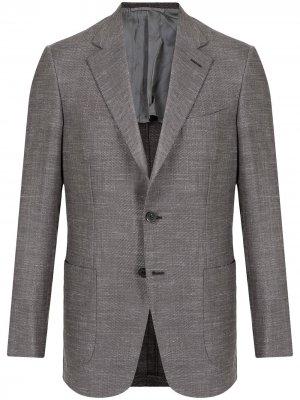 Однобортный пиджак с заостренными лацканами Brioni. Цвет: серый