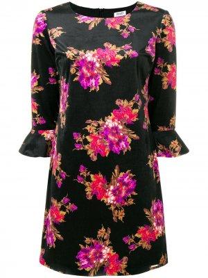 Платье с цветочным принтом LIU JO. Цвет: черный