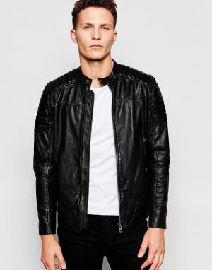 Кожаная куртка Selected Homme. Цвет: черный