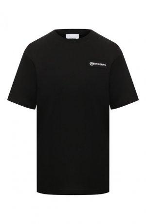 Хлопковая футболка Burberry. Цвет: черный