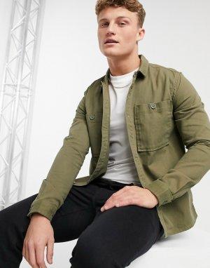 Рубашка навыпуск из твила цвета хаки с двумя карманами -Зеленый New Look