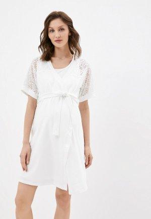 Халат и сорочка ночная Fest П88505К. Цвет: белый