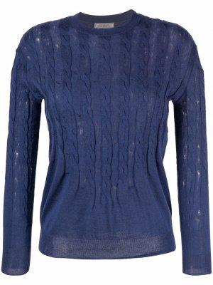 Джемпер фактурной вязки с круглым вырезом Nina Ricci. Цвет: синий