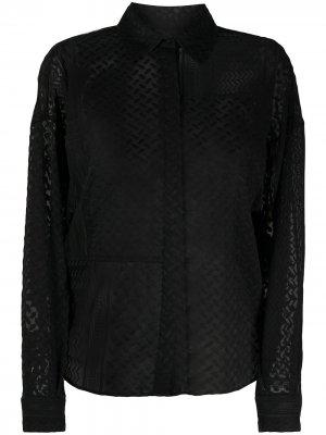 Полупрозрачная рубашка с вышивкой Lala Berlin. Цвет: черный