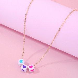 Ожерелье с сердцем для девочек SHEIN. Цвет: золотистый