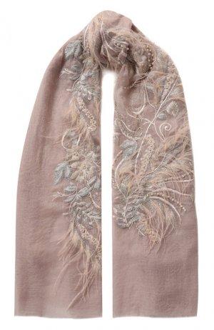 Кашемировая шаль Vintage Shades. Цвет: светло-серый