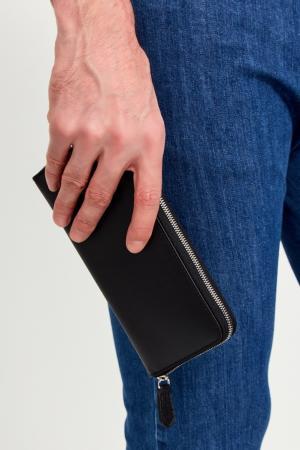 Черный кожаный кошелек Canali. Цвет: черный