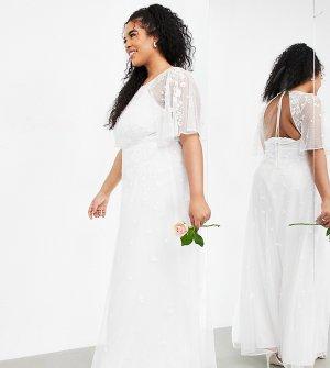 Свадебное платье с расклешенными рукавами и цветочной вышивкой Curve Annie-Белый ASOS EDITION