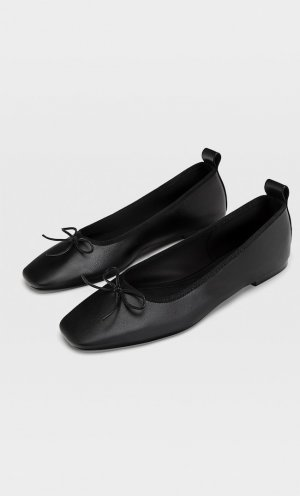 Балетки С Бантами Черный 39 Stradivarius. Цвет: черный