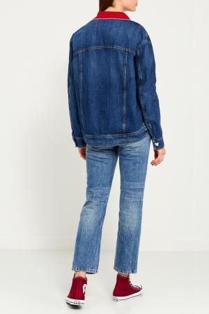 Джинсовая куртка с вышивками Vivetta. Цвет: белый