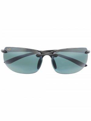 Солнцезащитные очки в квадратной оправе Maui Jim. Цвет: grey banyans gloss черный