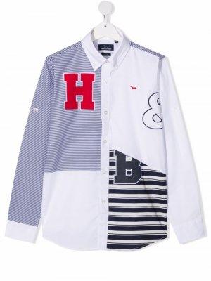 Поплиновая рубашка в технике пэчворк Harmont & Blaine Junior. Цвет: белый