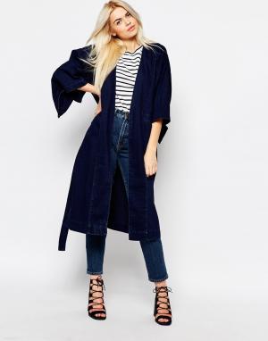 Свободная джинсовая куртка Monki. Цвет: темно-синий