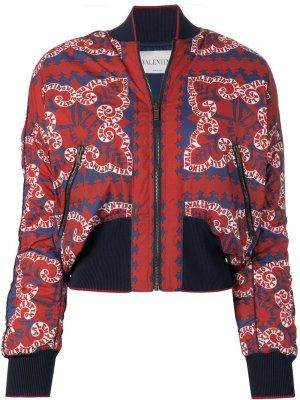 Куртка-бомбер с принтом логотипа Valentino. Цвет: красный