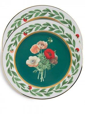Набор десертных тарелок Graniglia La Doublej. Цвет: зеленый