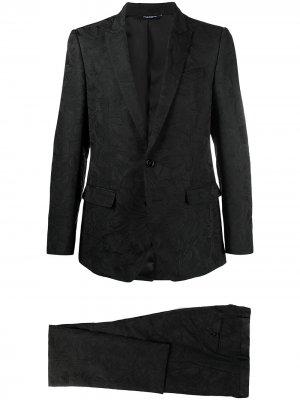 Жаккардовый костюм-двойка с цветочным узором Dolce & Gabbana. Цвет: черный