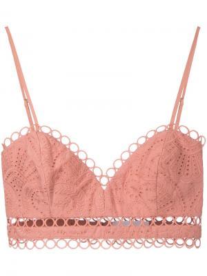 Broderie anglaise cropped top Zimmermann. Цвет: розовый и фиолетовый