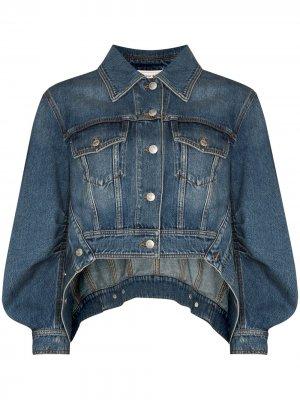Джинсовая куртка с закругленным подолом Alexander McQueen. Цвет: синий