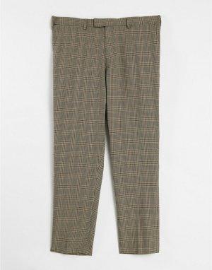Коричневые костюмные брюки в клетку -Коричневый цвет River Island