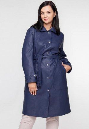 Куртка кожаная Limonti. Цвет: синий