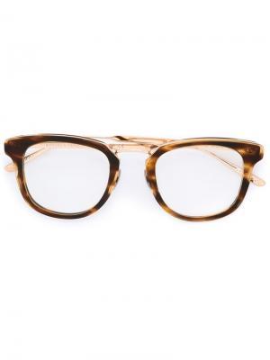 Очки в квадратной оправе Bottega Veneta Eyewear. Цвет: коричневый