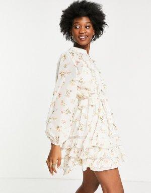 Белое платье мини из полупрозрачной ткани с цветочным принтом -Белый Forever U