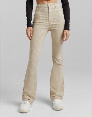 Кремовые расклешенные брюки в тонкую полоску -Белый Bershka