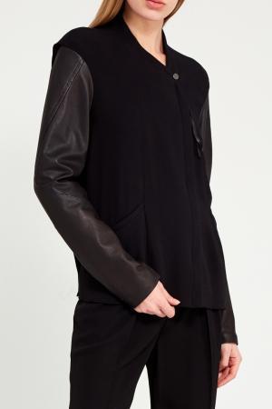 Куртка с кожаными рукавами Ilaria Nistri. Цвет: черный