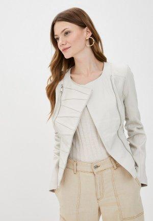 Куртка кожаная Снежная Королева. Цвет: белый