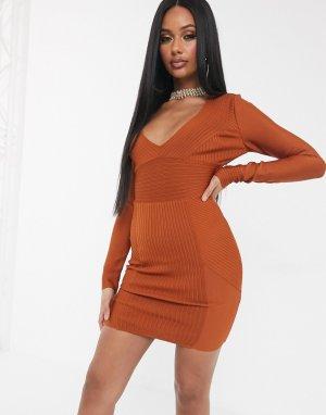 Светло-коричневое облегающее бандажное платье в рубчик с длинными рукавами -Коричневый The Girlcode