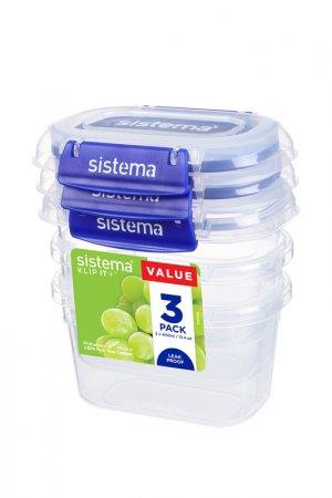 Набор контейнеров, 3 шт Sistema. Цвет: прозрачный, синий