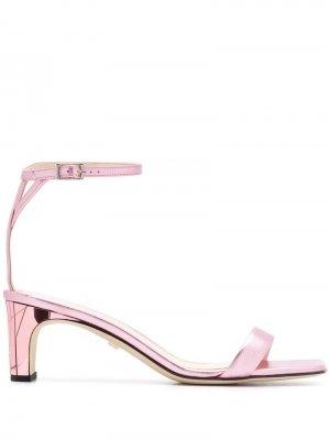 Босоножки на каблуке с металлическим эффектом Grey Mer. Цвет: розовый