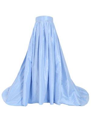 Юбка шелковая в пол CAROLINA HERRERA. Цвет: голубой