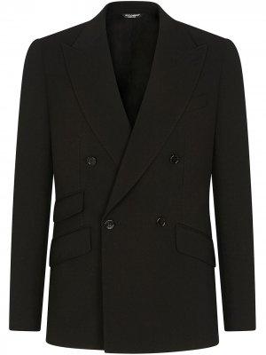 Костюм с двубортным пиджаком Dolce & Gabbana. Цвет: черный