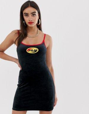 21468c3423a Велюровое платье в стиле 90-х с логотипом Fila. Цвет  черный
