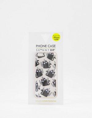 Чехол для телефона iphone 6/6S/7/8 и SE с котиком-единорожкой -Черный цвет Skinnydip