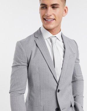 Серый костюм скинни в тонкую полоску New Look