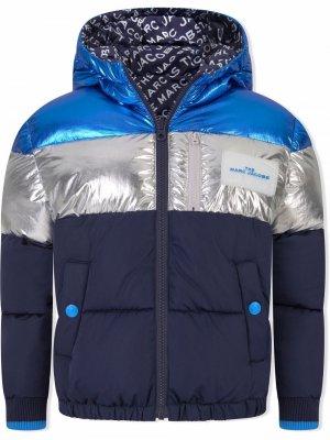 Reversible hooded padded jacket The Marc Jacobs Kids. Цвет: синий