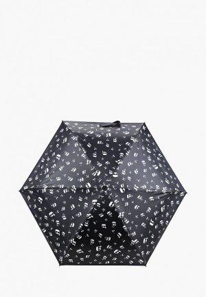 Зонт складной Karl Lagerfeld IKONIK. Цвет: черный