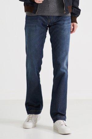 Темно-синие джинсы из хлопка и шелка