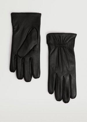 Полушерстяные перчатки с кожаными вставками - Elastic Mango. Цвет: черный