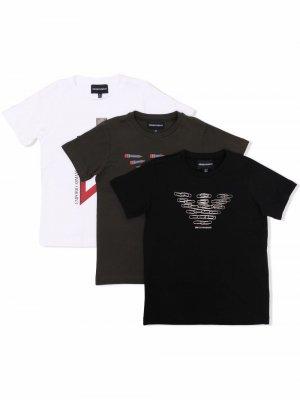 Комплект из трех футболок с логотипом Emporio Armani Kids. Цвет: белый
