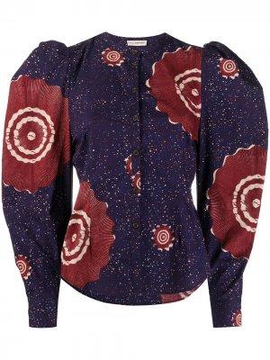 Блузка с пышными рукавами и принтом Ulla Johnson. Цвет: синий