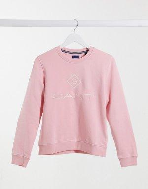 Розовый свитшот с принтом на груди GANT-Розовый цвет Gant