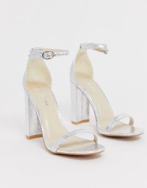 Серебристые босоножки на блочном каблуке с квадратным носком -Серебряный Glamorous