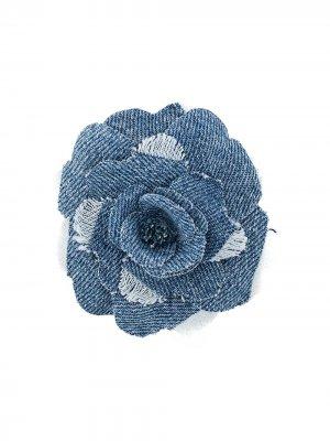 Брошь с цветочной вышивкой Philosophy Di Lorenzo Serafini. Цвет: синий