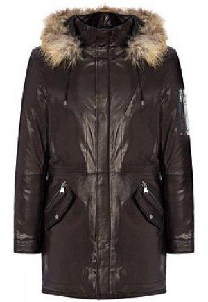 Утепленная кожаная куртка с отделкой мехом енота Al Franco