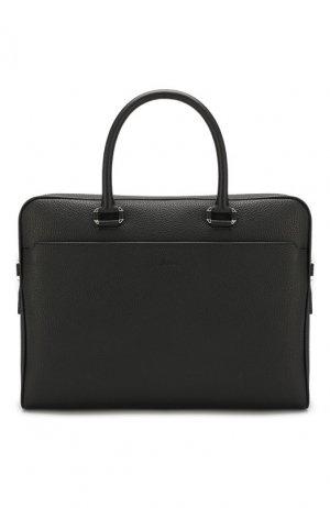 Кожаная сумка для ноутбука Brioni. Цвет: чёрный