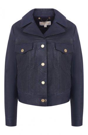 Кожаная куртка MICHAEL Kors. Цвет: синий
