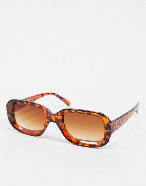 Узкие солнцезащитные очки в стиле ретро 70-х квадратной черепаховой оправе -Коричневый AJ Morgan